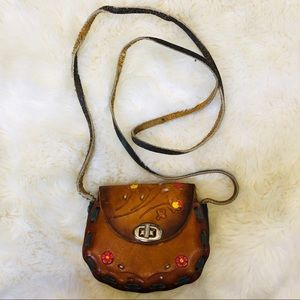 Vintage leather purse made in Mexico with flowers